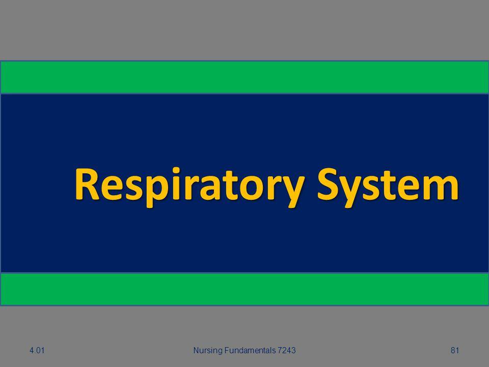 Respiratory System 5.01 4.01 Nursing Fundamentals 7243