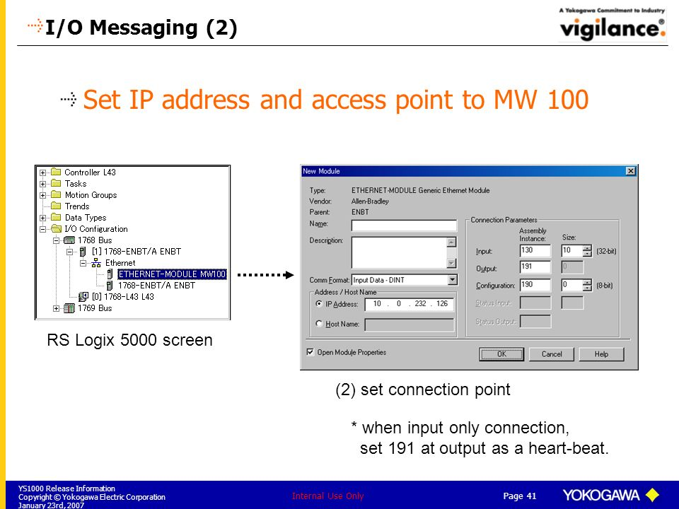 Set IP address and access point to MW 100