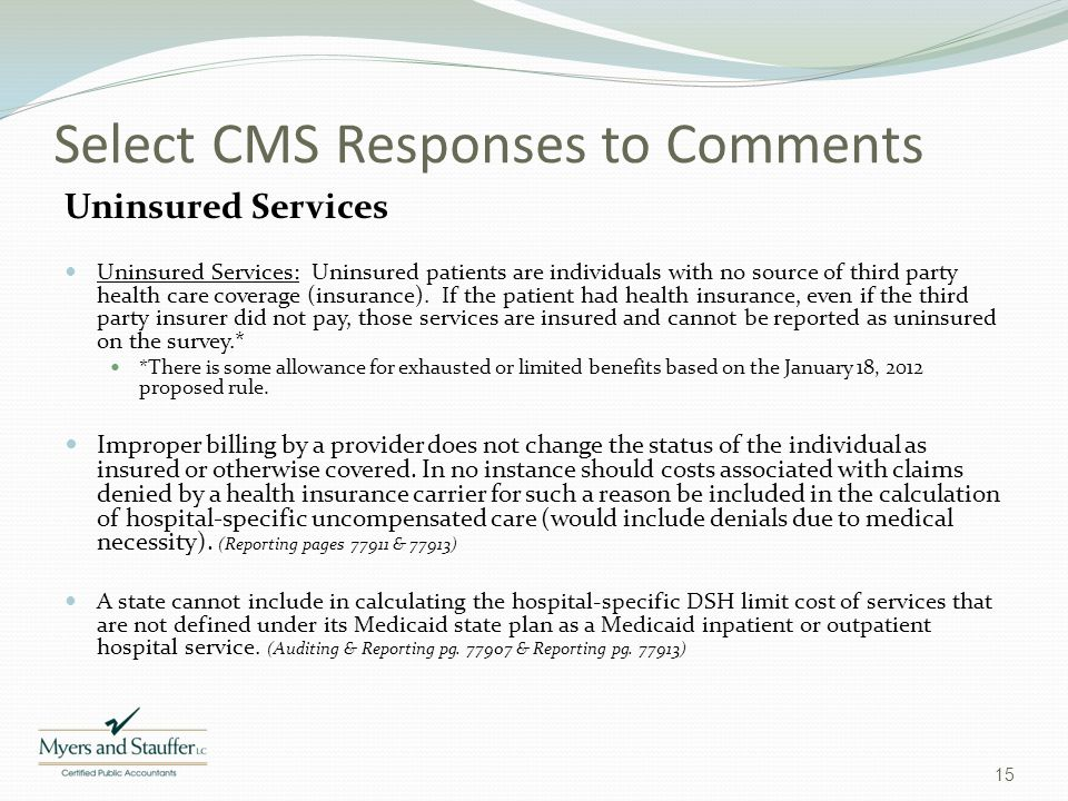 Select CMS Responses to Comments