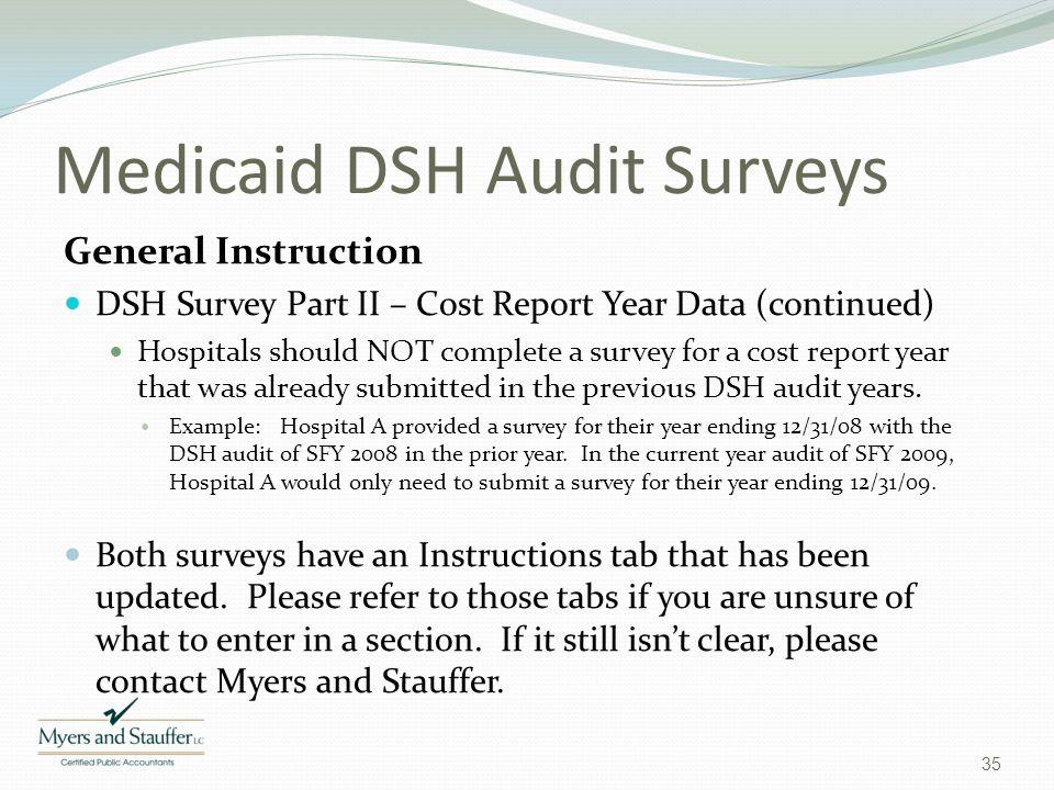 Medicaid DSH Audit Surveys