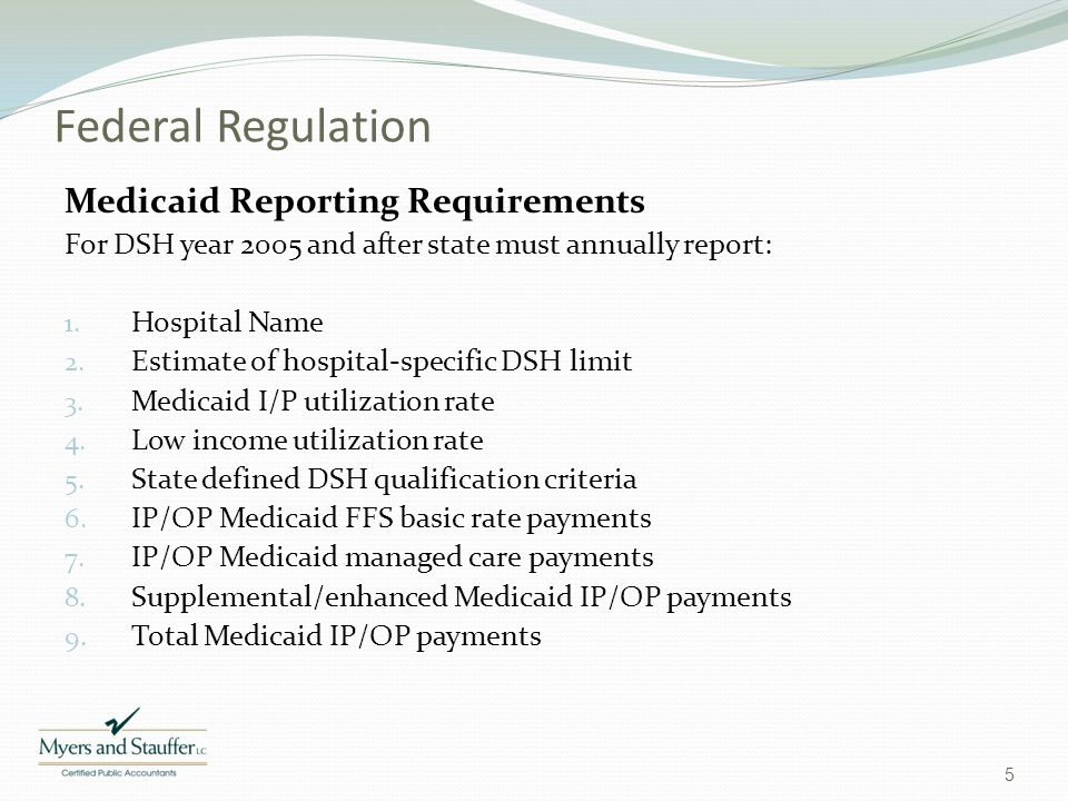 Federal Regulation Medicaid Reporting Requirements