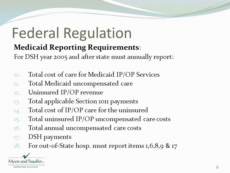 Federal Regulation Medicaid Reporting Requirements: