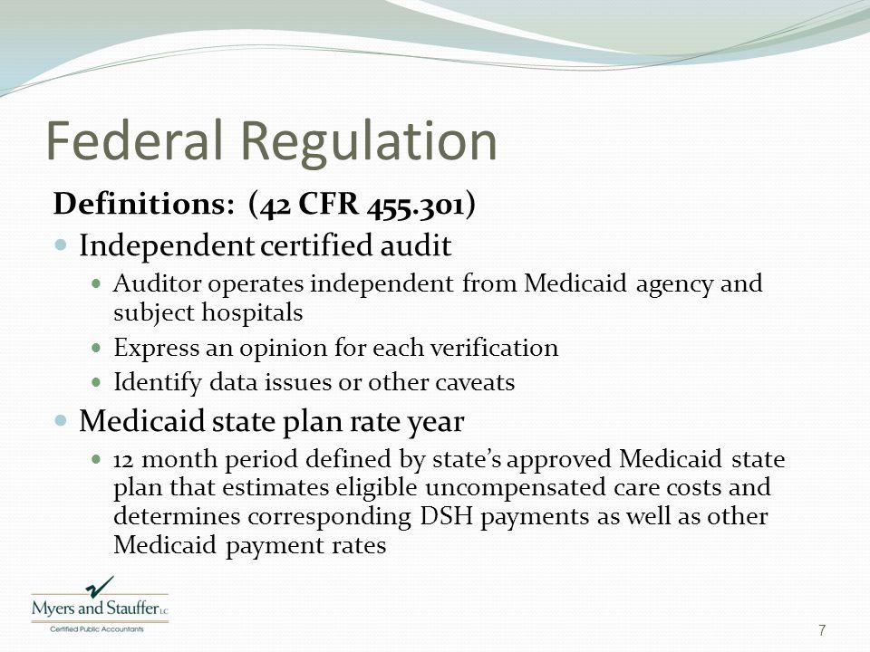 Federal Regulation Definitions: (42 CFR 455.301)