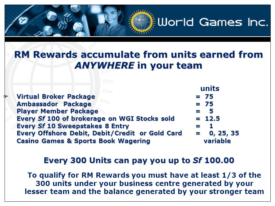 RM Rewards accumulate from units earned from ANYWHERE in your team