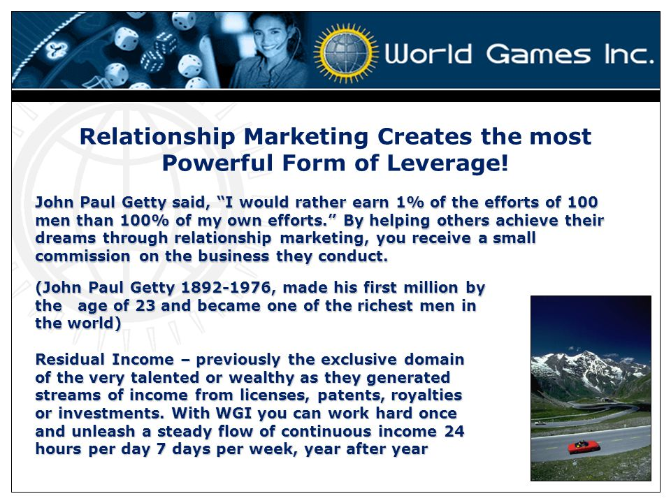 Relationship Marketing Creates the most Powerful Form of Leverage!