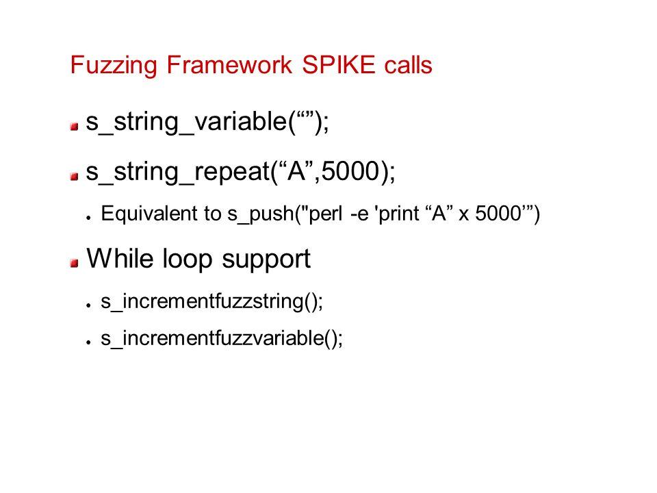 Fuzzing Framework SPIKE calls