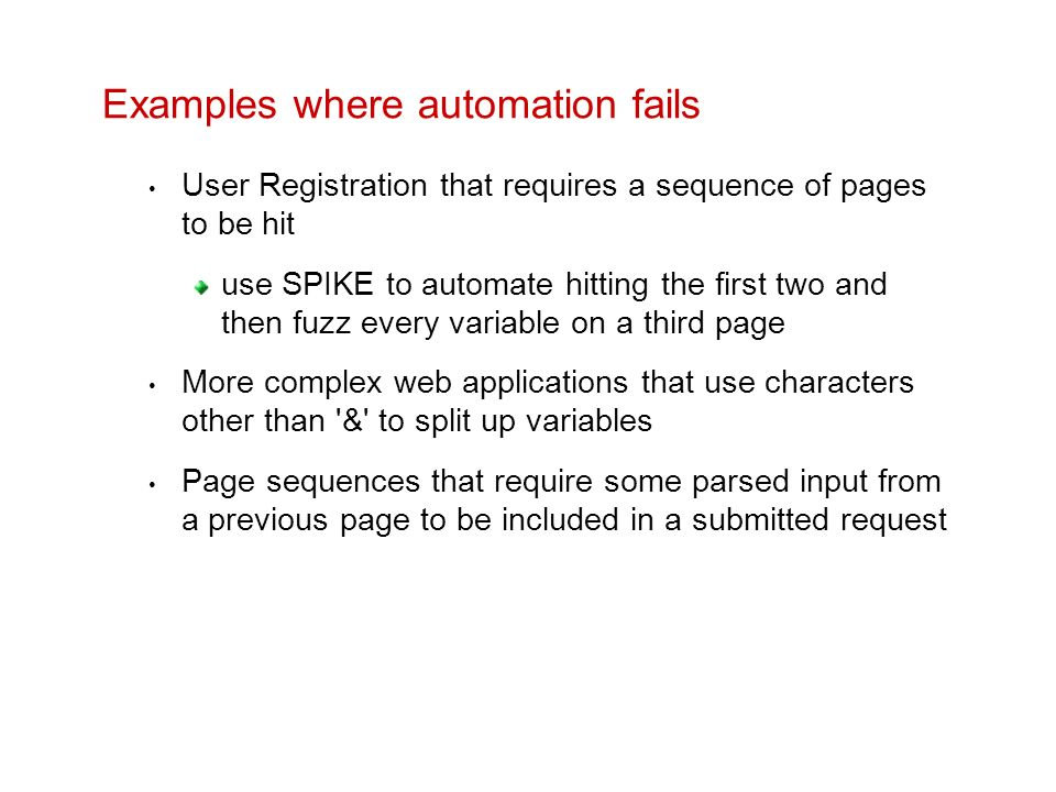 Examples where automation fails