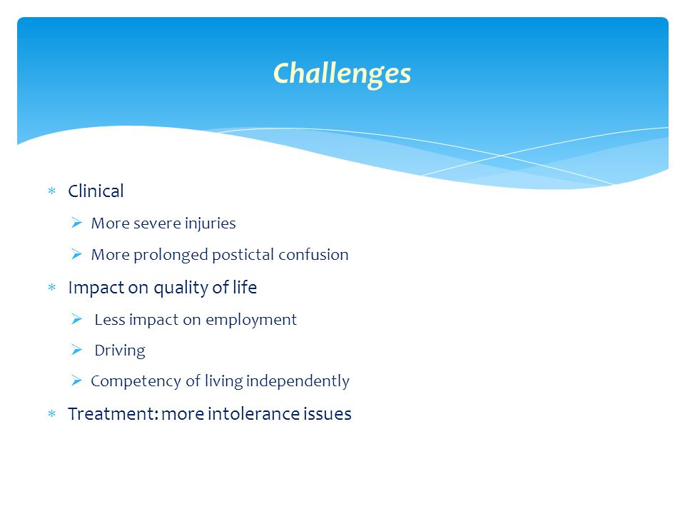 Challenges Clinical Impact on quality of life