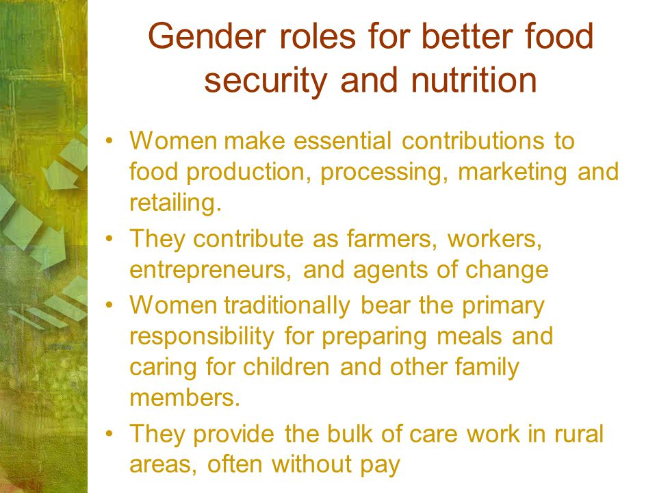 Gender roles for better food security and nutrition