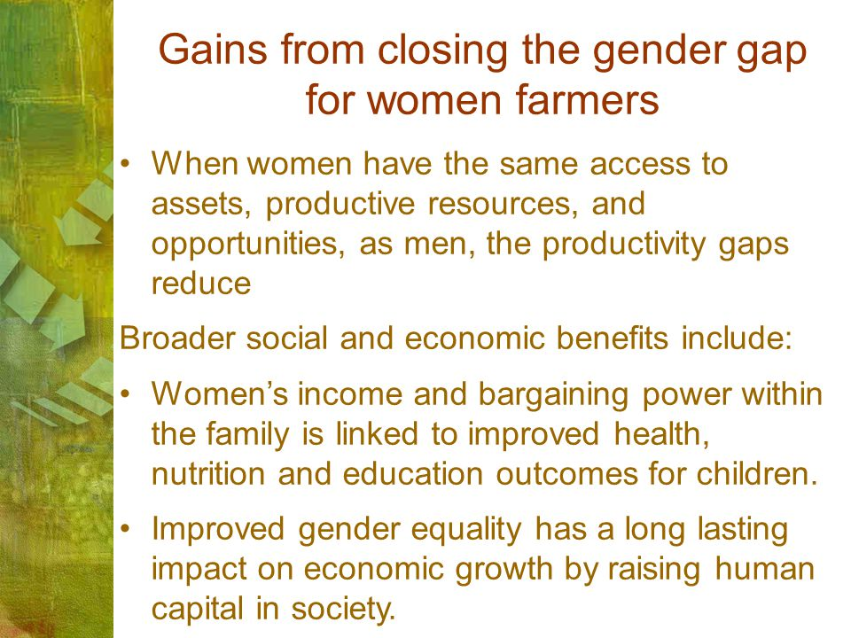 Gains from closing the gender gap for women farmers