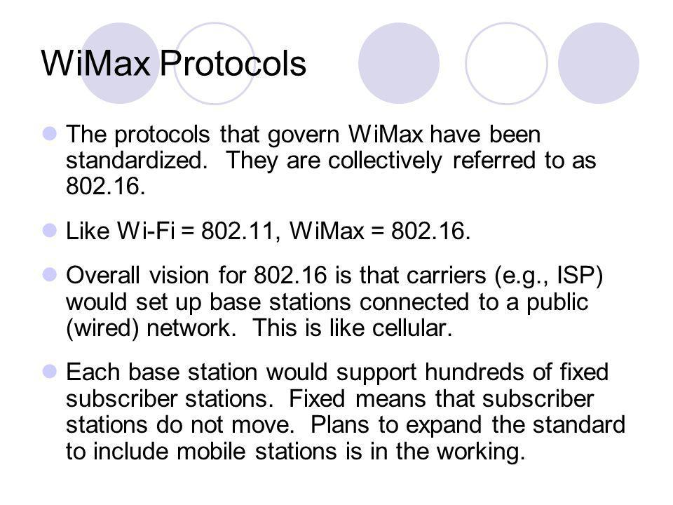 WiMax Protocols The protocols that govern WiMax have been standardized. They are collectively referred to as 802.16.