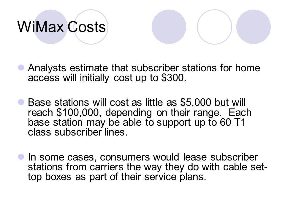 WiMax Costs Analysts estimate that subscriber stations for home access will initially cost up to $300.
