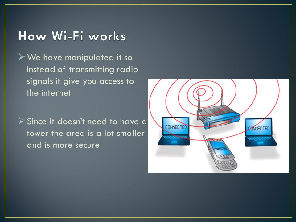 How Wi-Fi works We have manipulated it so instead of transmitting radio signals it give you access to the internet.