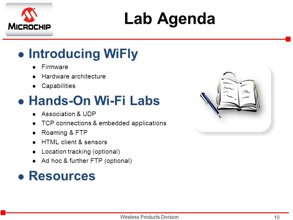 Lab Agenda Introducing WiFly Hands-On Wi-Fi Labs Resources Firmware