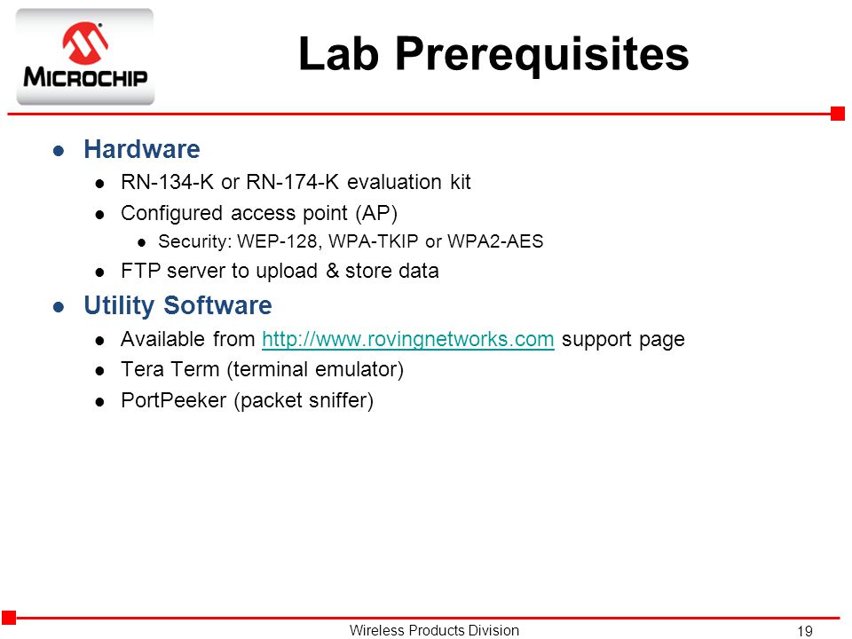 Lab Prerequisites Hardware Utility Software