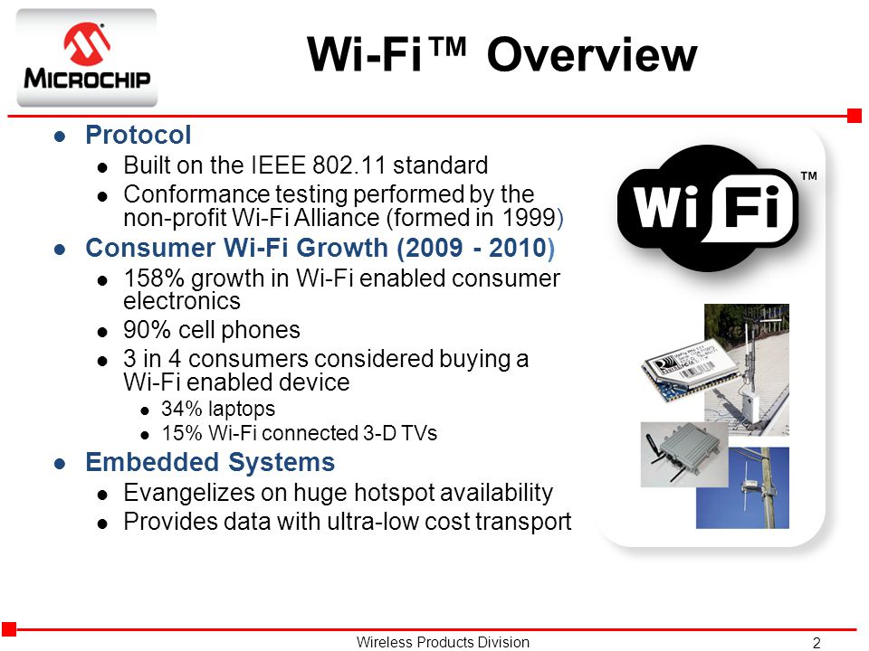 Wi-Fi™ Overview Protocol Consumer Wi-Fi Growth (2009 - 2010)