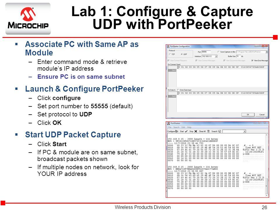 Lab 1: Configure & Capture UDP with PortPeeker