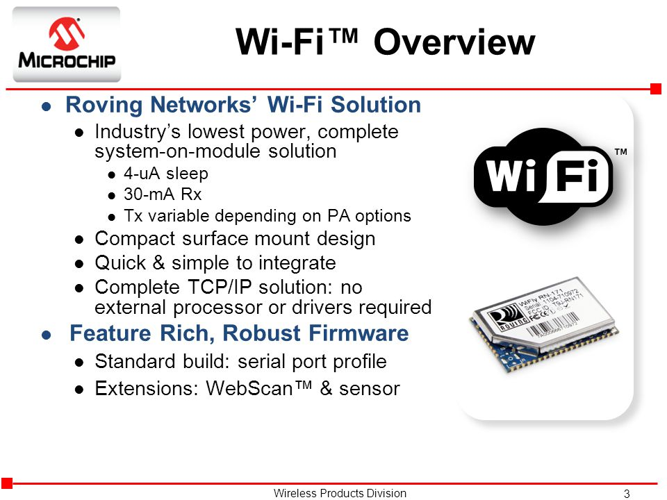 Wi-Fi™ Overview Roving Networks' Wi-Fi Solution