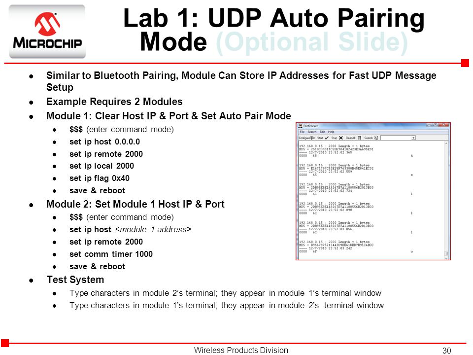 Lab 1: UDP Auto Pairing Mode (Optional Slide)