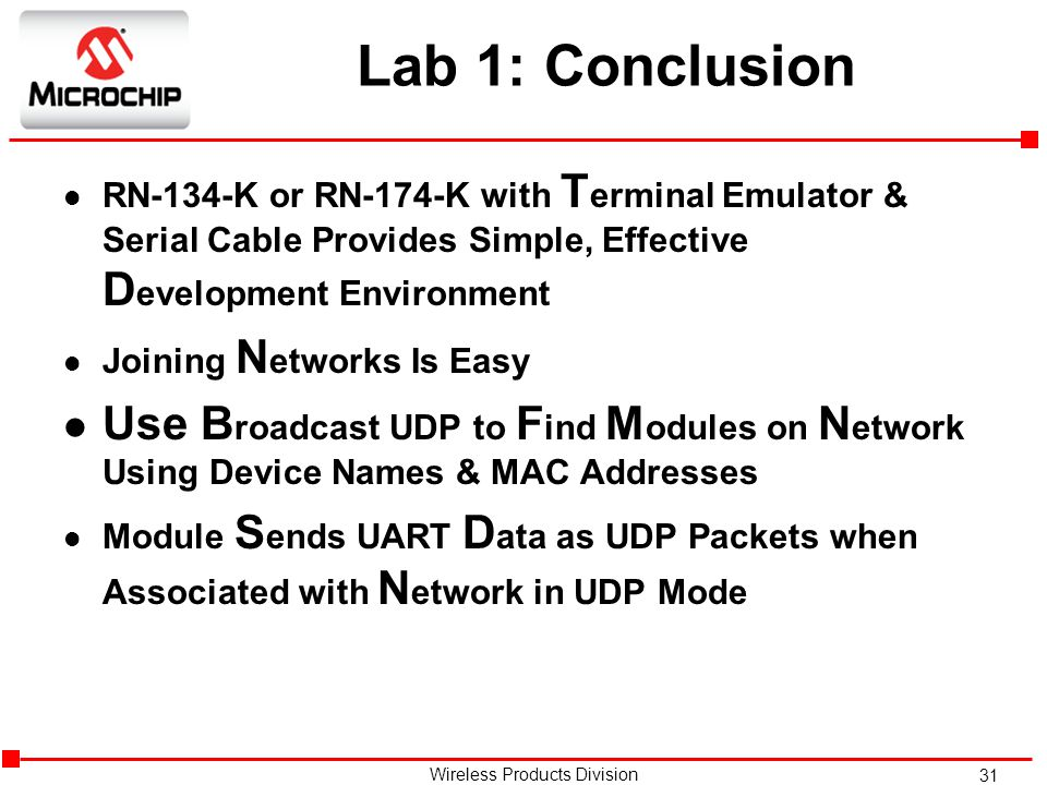 Lab 1: Conclusion RN-134-K or RN-174-K with Terminal Emulator & Serial Cable Provides Simple, Effective Development Environment.