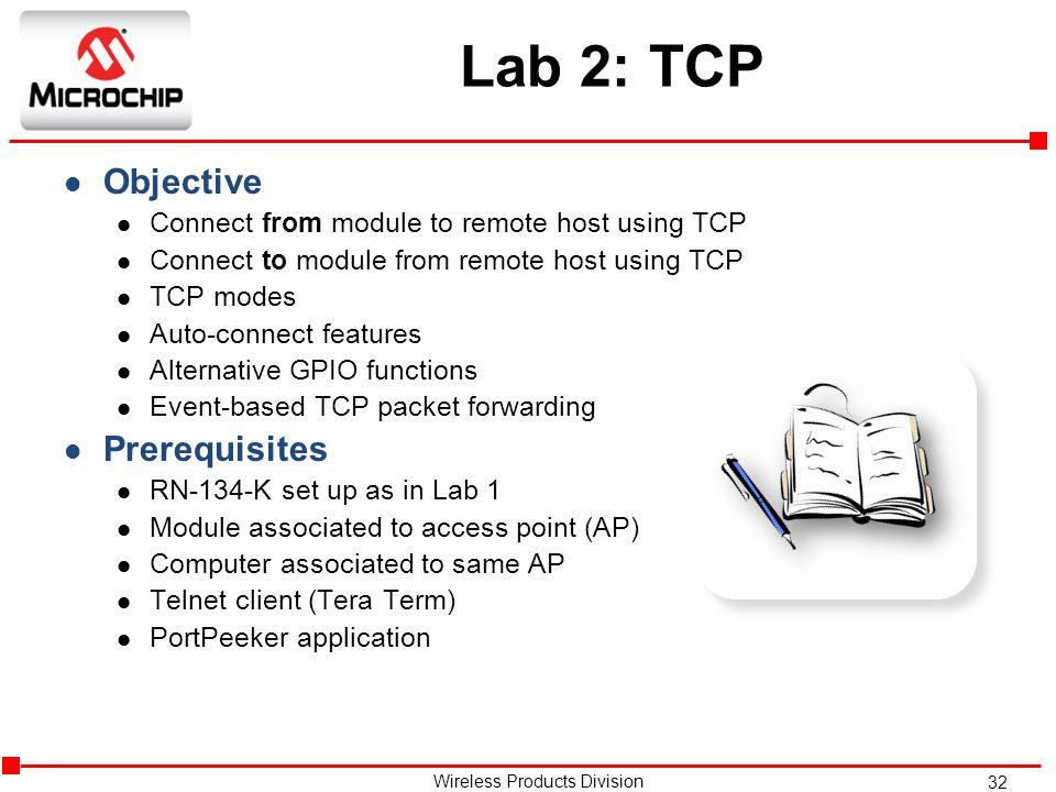 Lab 2: TCP Objective Prerequisites