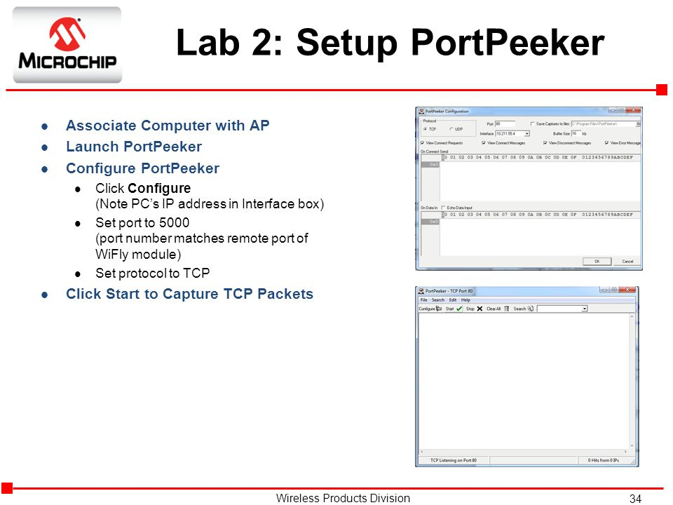 Lab 2: Setup PortPeeker Associate Computer with AP Launch PortPeeker