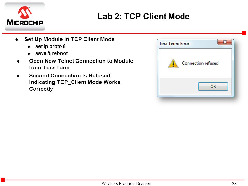 Lab 2: TCP Client Mode Set Up Module in TCP Client Mode