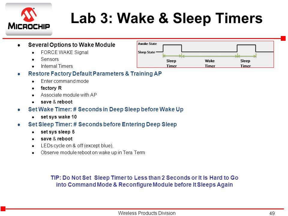 Lab 3: Wake & Sleep Timers