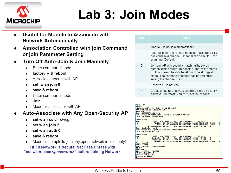 Lab 3: Join Modes Useful for Module to Associate with Network Automatically. Association Controlled with join Command or join Parameter Setting.