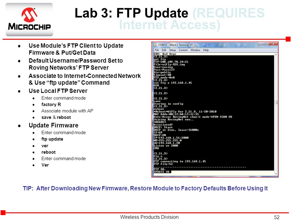 Lab 3: FTP Update (REQUIRES Internet Access)