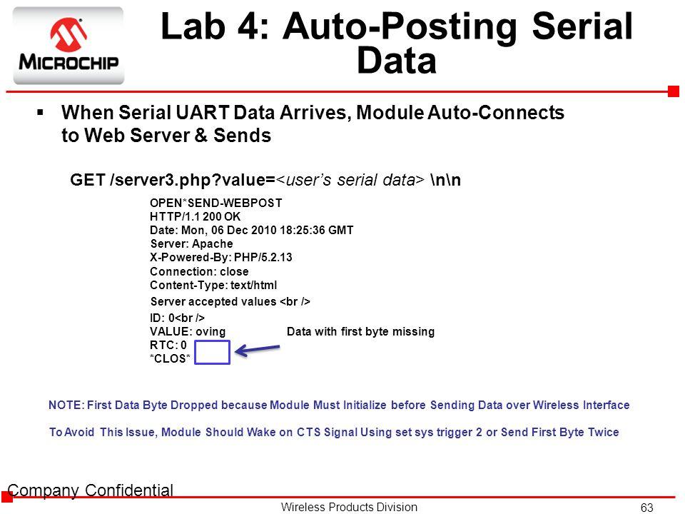 Lab 4: Auto-Posting Serial Data