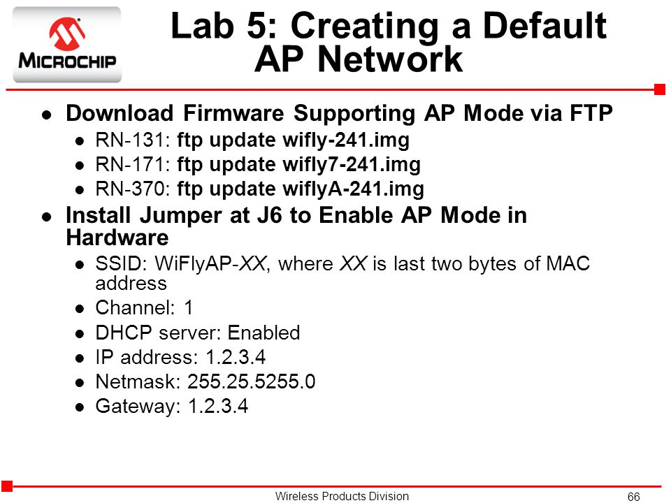 Lab 5: Creating a Default AP Network