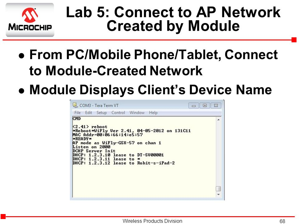 Lab 5: Connect to AP Network Created by Module