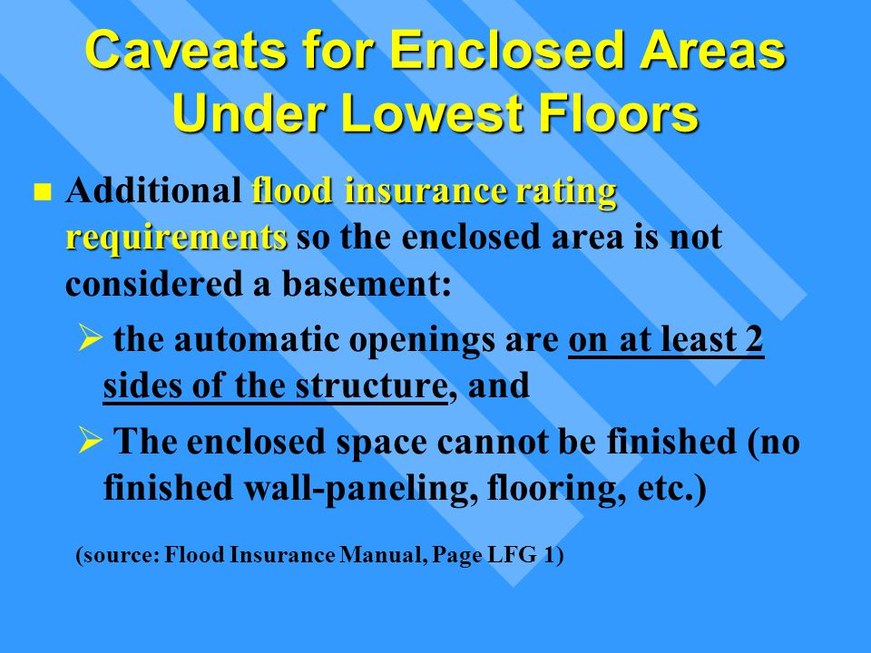 Caveats for Enclosed Areas Under Lowest Floors