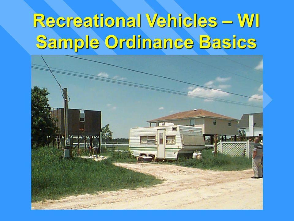 Recreational Vehicles – WI Sample Ordinance Basics