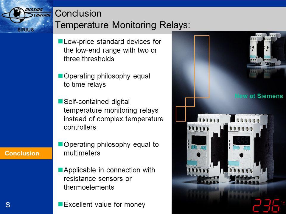 Conclusion Temperature Monitoring Relays: