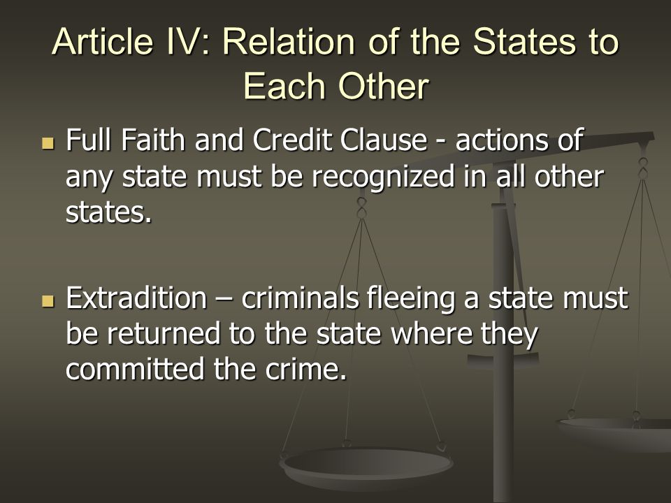 Article IV: Relation of the States to Each Other