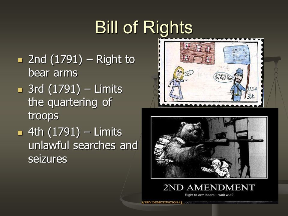 Bill of Rights 2nd (1791) – Right to bear arms