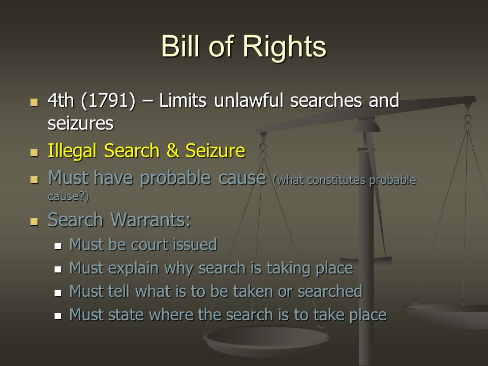 Bill of Rights 4th (1791) – Limits unlawful searches and seizures