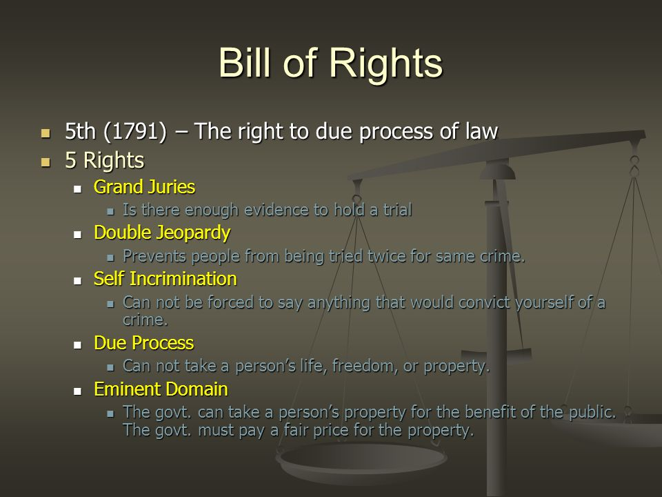 Bill of Rights 5th (1791) – The right to due process of law 5 Rights