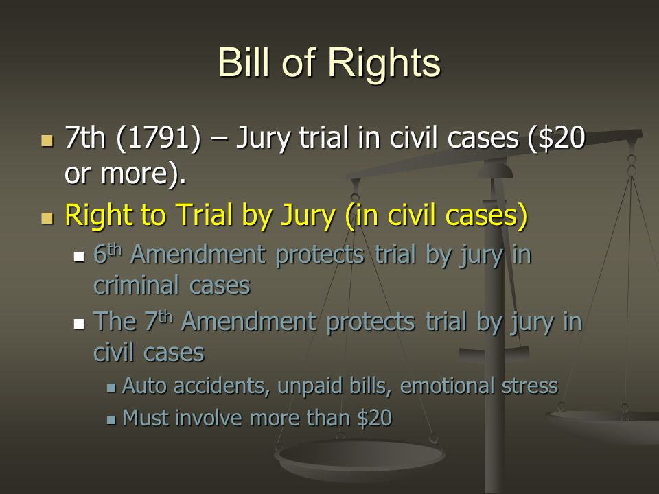 Bill of Rights 7th (1791) – Jury trial in civil cases ($20 or more).