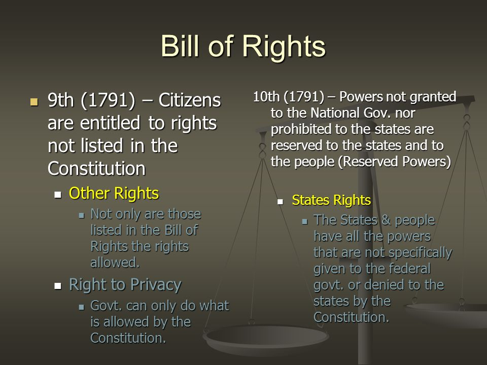 Bill of Rights 9th (1791) – Citizens are entitled to rights not listed in the Constitution. Other Rights.