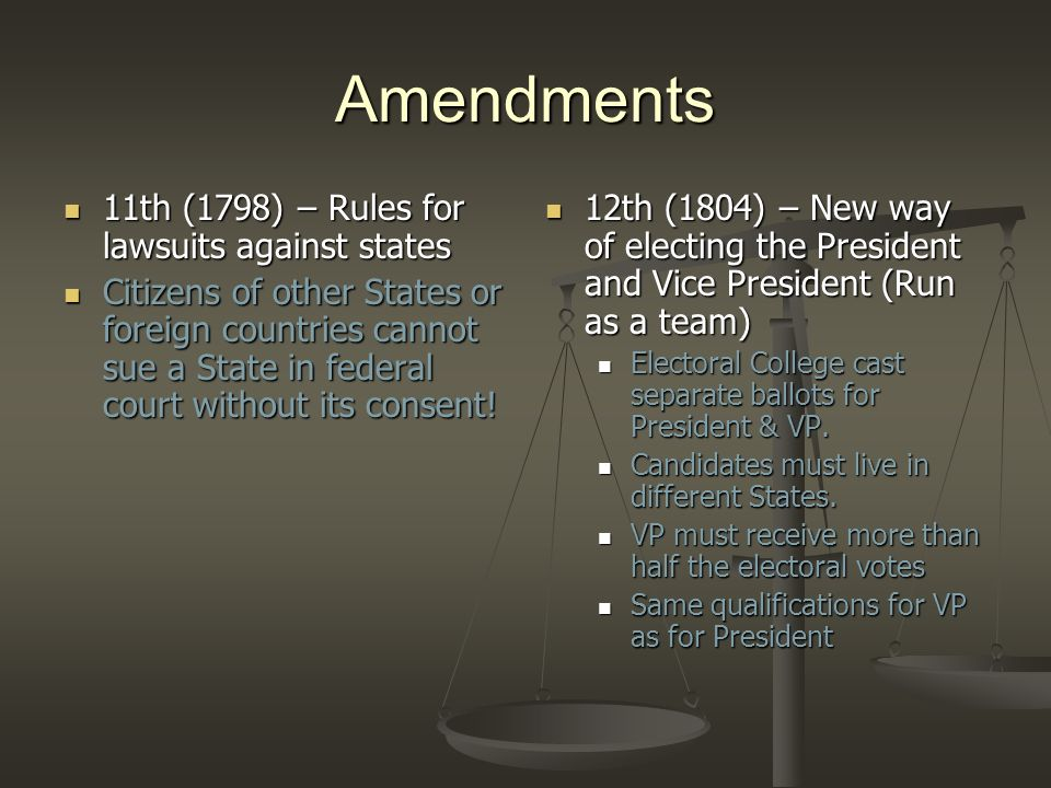 Amendments 11th (1798) – Rules for lawsuits against states