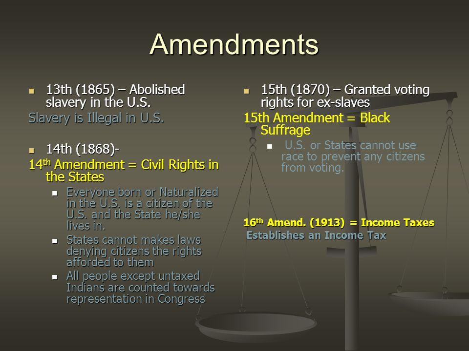 Amendments 13th (1865) – Abolished slavery in the U.S.