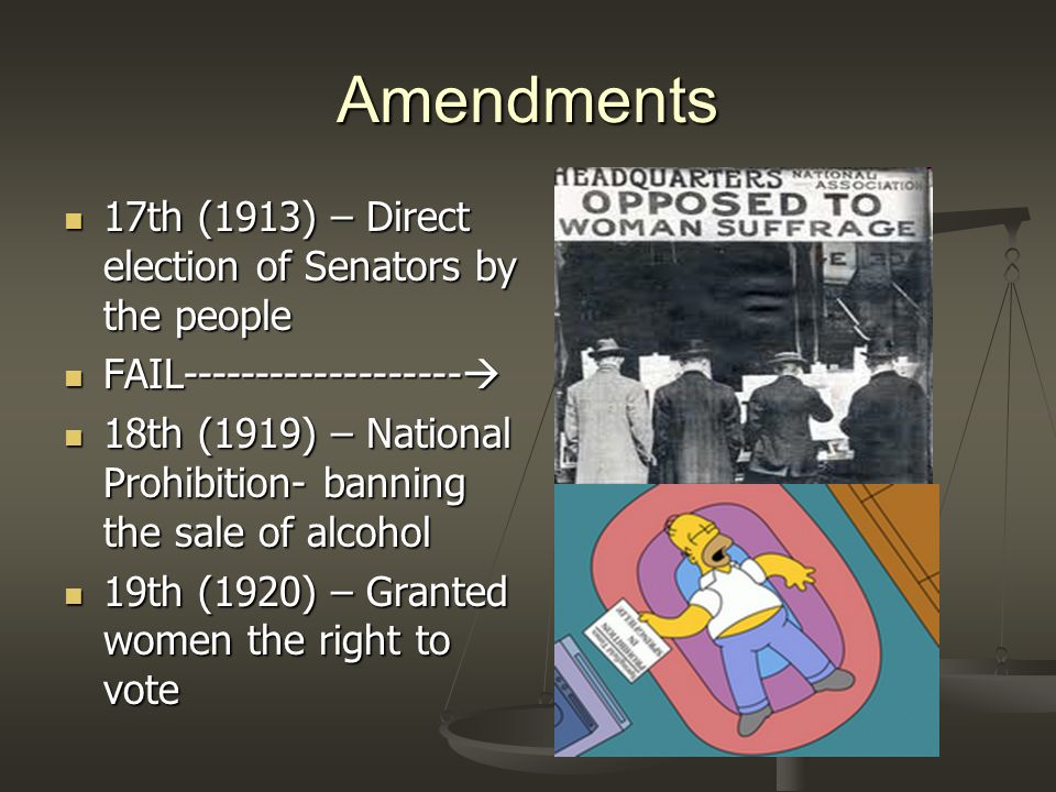 Amendments 17th (1913) – Direct election of Senators by the people