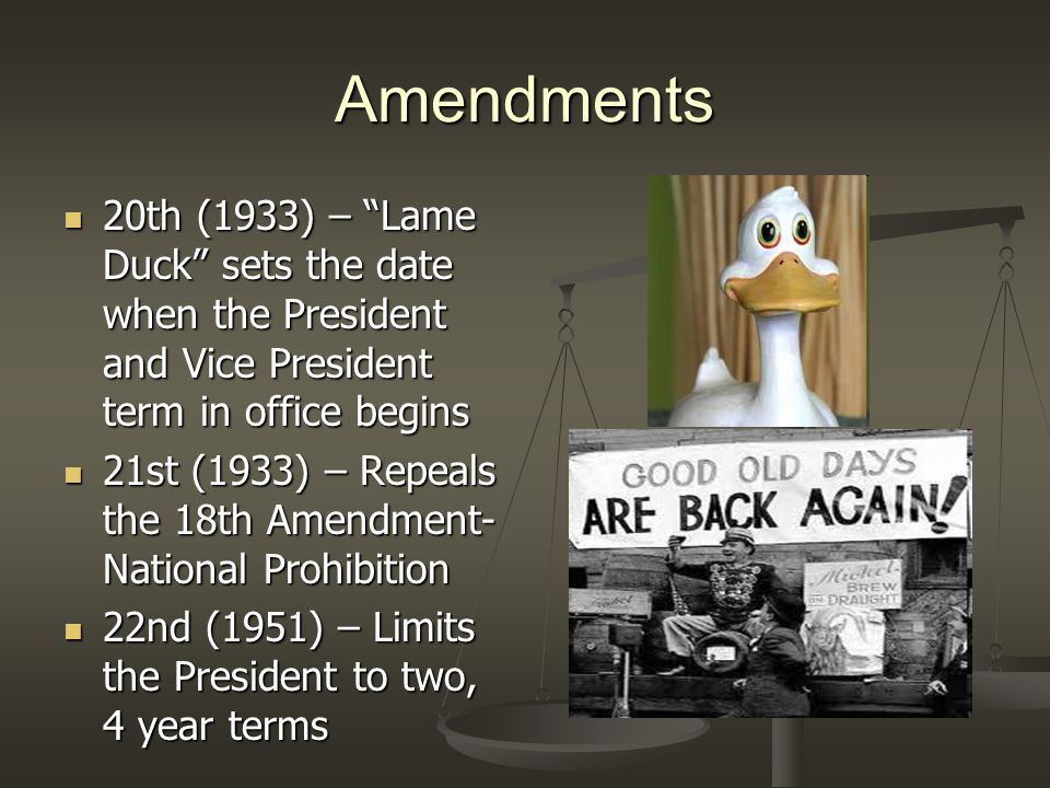 Amendments 20th (1933) – Lame Duck sets the date when the President and Vice President term in office begins.
