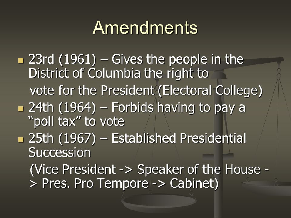 Amendments 23rd (1961) – Gives the people in the District of Columbia the right to. vote for the President (Electoral College)