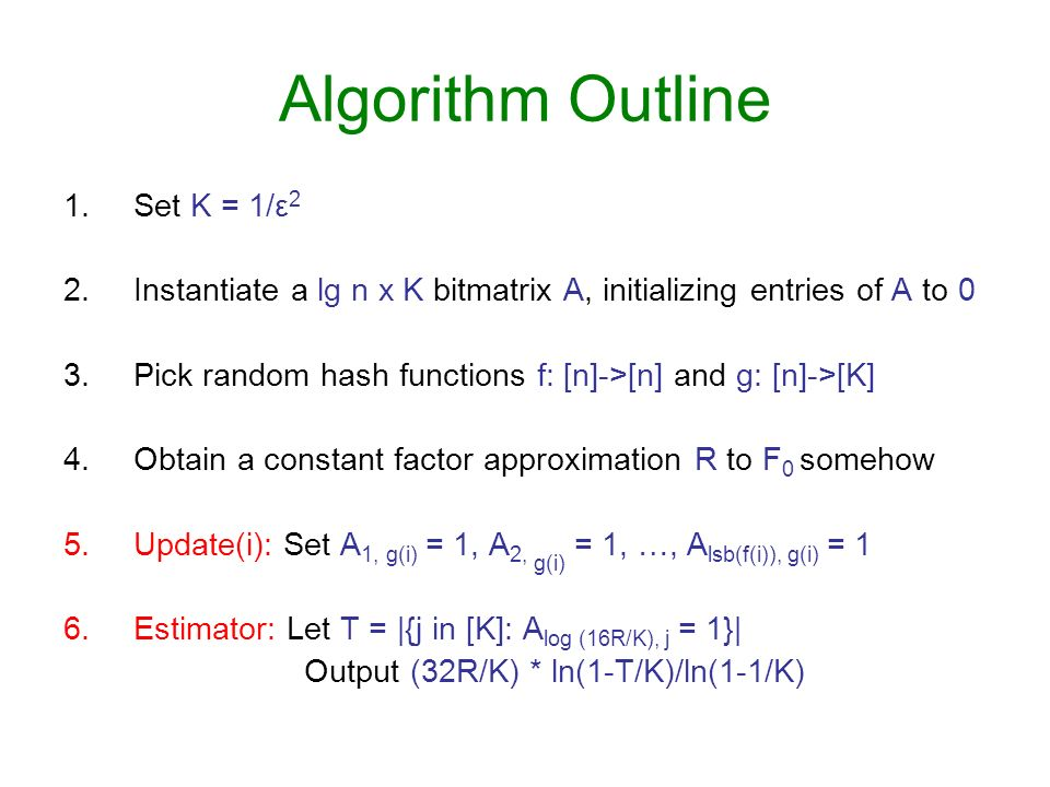 Algorithm Outline Set K = 1/ε2