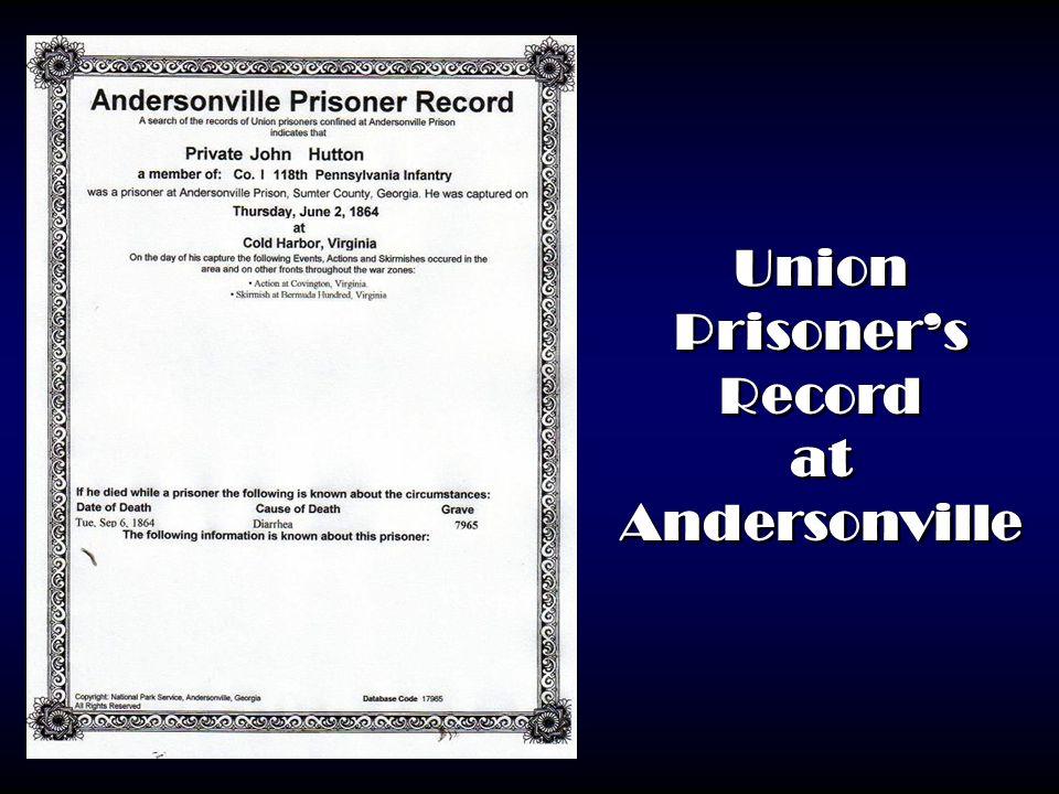 Union Prisoner's Record at Andersonville