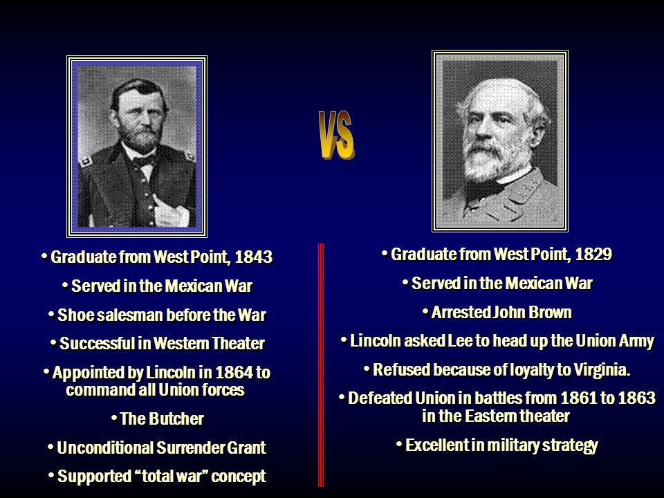 VS Graduate from West Point, 1829 Graduate from West Point, 1843